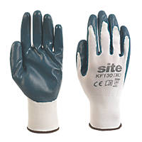 Site KF130 Nitrile Coated Gloves White / Blue Medium
