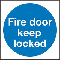 """Fire Door Keep Locked"" Sign 100 x 100mm"