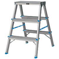 Aluminium Double-Sided Folding Stepladder 3 Treads 0.65m