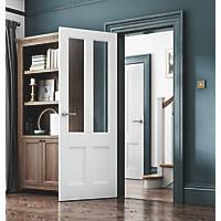 Jeld-Wen Deco 4-Clear Light Primed White Wooden 4-Panel Internal Door 1981 x 610mm