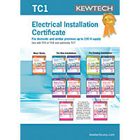 Kewtech TC1 New Electrical Installations Up To 100A Supply Certificates Pad