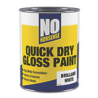 No Nonsense Water-Based Gloss Paint  Pure Brilliant White 1Ltr