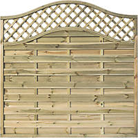 Rowlinson Grosvenor Double-Slatted Lattice Curved Top Fence Panel 6 x 6' Pack of 3
