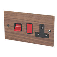 Varilight  45A 2-Gang DP Cooker Switch & 13A DP Switched Socket Walnut Veneer  with Black Inserts