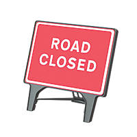 "Melba Swintex Q Sign Rectangular ""Road Closed"" Traffic Sign 1070 x 1085mm"