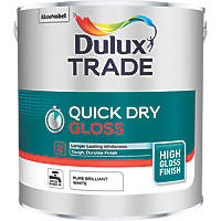 Dulux Trade Quick-Dry Gloss Paint Pure Brilliant White 2.5Ltr