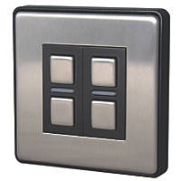 Lightwave  2-Gang 2-Way LED Smart Dimmer Switch Brushed Stainless Steel