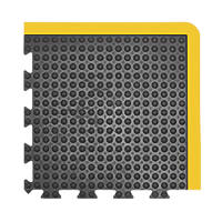 COBA Europe Bubblemat Anti-Fatigue Corner Mat Black / Yellow 0.5m x 0.5m