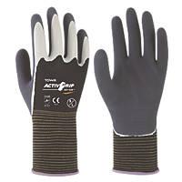 Towa ActivGrip XA-324 Latex-Coated Finger Gloves Grey / Black Medium