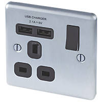 LAP  13A 1-Gang SP Switched Socket + 2.1A 2-Outlet USB Charger Brushed Stainless Steel with Black Inserts