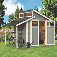 "Rowlinson  9' 6"" x 6' 6"" (Nominal) Skylight Tongue & Groove Timber Shed with Lean-To"