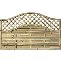 Rowlinson Grosvenor Double-Slatted Lattice Curved Top Fence Panel 6 x 4' Pack of 3