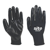 Site Grasp Nitrile-Coated Gloves Black Large