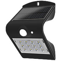 Luceco  LED Solar Wall Light With PIR Sensor Black