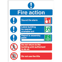 """Fire Action"" Notice Signs 230 x 172mm 50 Pack"
