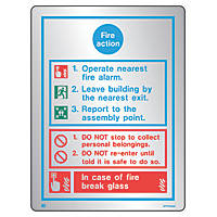 "Firechief  ""Fire Action"" Safety Sign 200 x 150mm"