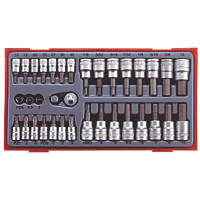 Teng Tools TTBS35 Mixed Drive Metric / AF Bit Socket Set 35 Pieces