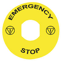 Schneider Electric Yellow / Black 'Emergency Stop' Legend Plate 90mm 10 Pack