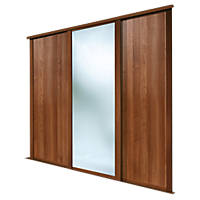 Spacepro Shaker 3 Door Sliding Wardrobe Doors Walnut / Mirror 2136 x 2260mm