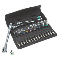 "Wera Zyklop 1/4"" Drive Ratchet Set with Push-Through Square 28 Piece Set"