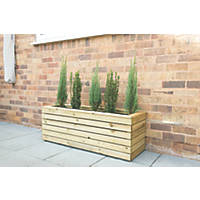 Forest Rectangular Long Linear Planter Natural Wood 1200 x 400 x 440mm