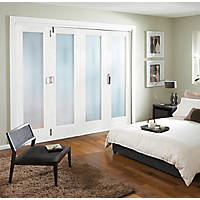 Jeld-Wen Room Fold 4-Door 1-Obscure Light Primed White Wooden 1-Panel Shaker Internal Bi-Fold Room Divider 2047 x 2545mm