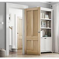 Jeld-Wen Deco Unfinished Oak Veneer Wooden 4-Panel Internal Door 1981 x 838mm
