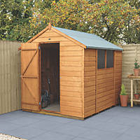 """Forest Delamere 6' x 7' 6"""" (Nominal) Apex Shiplap Timber Shed with Base"""