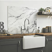 Impact Glass White Marble Self-Adhesive Splashback 600 x 750 x 6mm