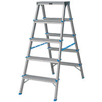 Aluminium Double-Sided Stepladder 5 Treads 1.1m