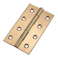 Polished Brass  Butt Hinges 102 x 61mm 2 Pack
