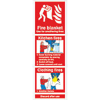 """Fire Blanket"" Kitchen Fire Sign 300 x 100mm"