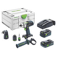 Festool PDC 18/4 5,2/4,0 I-Set-SCA 18V 5.2 Ah, 4.0Ah Li-Ion Airstream Brushless Cordless Combi Drill