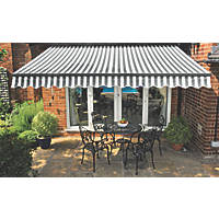 Greenhurst Kensington Easy-Fit Patio Awning Grey / White 3.5 x 2.5m