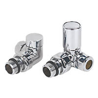 "Torino Chrome Angled Radiator Valve & Lockshield 15mm x ½"" 2 Pcs"