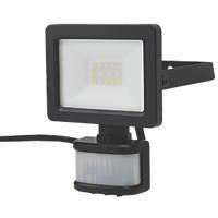 LAP  Outdoor LED Floodlight With PIR Sensor Black 10W 1000lm