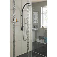 Bristan Prism HP Rear-Fed Exposed Black/Chrome Thermostatic Inline Pole Mixer Shower