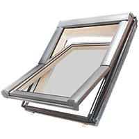 Site  Manual Centre-Pivot Lacquered Natural Pine Roof Window Clear 780 x 980mm