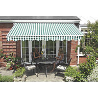 Greenhurst Henley Extendable Patio Awning Green / White 2.5 x 2m