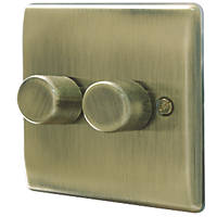 British General Nexus Metal 2-Gang 2-Way LED Dimmer Switch  Antique Brass