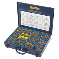 Goldscrew PZ Double-Countersunk Woodscrews Expert Trade Case 2800 Pcs