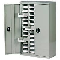 Steel Drawer Cabinet w/Lockable Doors & 48 Bin Trays 586 x 270 x 970mm Grey