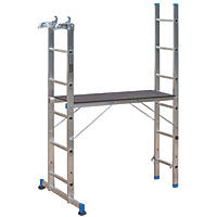 Mac Allister 2-Section 4-Way Aluminium Combination Ladder With Platform 2.65m