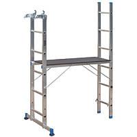 Mac Allister  2-Section 4-Way Aluminium Combination Ladder With Platform 2.65m