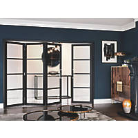 Jeld-Wen Room Fold 4-Door 4-Clear Light Painted Black Wooden Shaker Internal Bi-Fold Room Divider 2047 x 2545mm