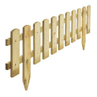 Rowlinson Picket Border Fence Natural Timber 1.2m 4 Pack