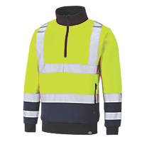 Dickies SA22092 Hi-Vis Quarter Zip Sweatshirt Yellow / Navy X Large  Chest