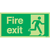 Nite-Glo  'Fire Exit' Running Man Right Sign 150 x 300mm
