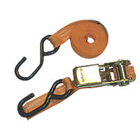 Van Guard Ratchet Tie-Down Straps with Hooks 2.5m x 25mm 2 Pack
