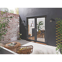 Jeld-Wen Bedgebury Hardwood External French Door Set Grey 1194 x 2094mm